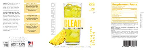 NutraBio Clear Whey Protein Isolate - Refreshing Fruity Flavors (Pineapple Splash)