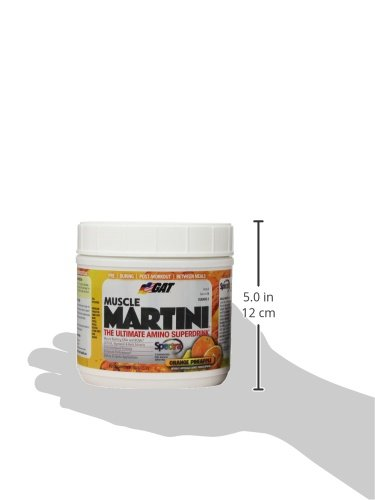 GAT Muscle Martini, The Ultimate Amino Super Drink with 30 Fruit and Vegetable Extracts, Orange Pineapple, 360 Gram