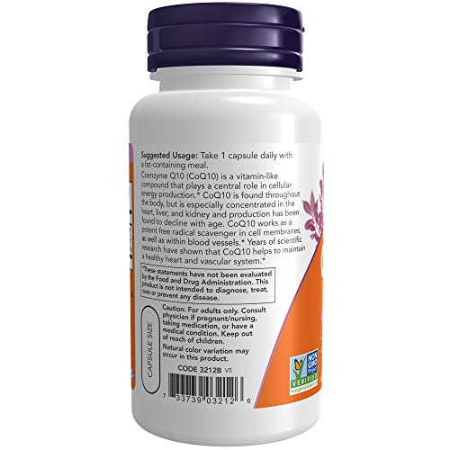 NOW Supplements CoQ10 100 mg with Hawthorn Berry Pharmaceutical Grade, All-Trans Form produced by Fermentation, 90 Veg Capsules