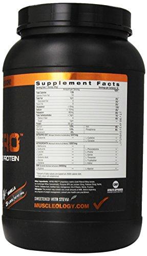 Muscleology Nitro-Pro Protein Powder, Vanilla, 3 Pounds