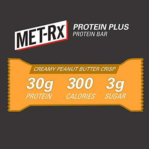MET-Rx Protein Plus Bar, Healthy Meal Replacement, Snack, and Help Support Energy, Gluten Free, Creamy Peanut Butter Crisp, with Vitamin A, Vitamin C, and Zinc to Support Immune Health, 85 g, 9 Count