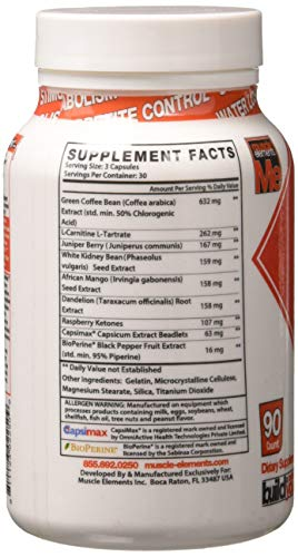 Muscle Elements LEANWORKS - Stimulant Free Thermogenic Fat Burner & Metabolic Optimizer with L-Carnitine & Green Coffee Bean Extract, Best Caffeine Free Fat Burner, 90 Count