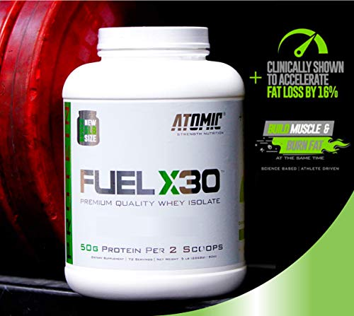 Atomic Strength Nutrition Fuel X30 Whey Isolate - Homemade Ice Cream - Premium Quality Muscle Mass Gainer - Sugar Free, Fat Free, Gluten Free, Lactose Free - 5 lbs