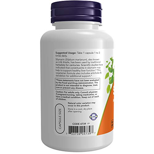 NOW Supplements, Silymarin Milk Thistle Extract 300 mg with Artichoke and Dandelion, Double Strength, Supports Liver Function*, 100 Veg Capsules