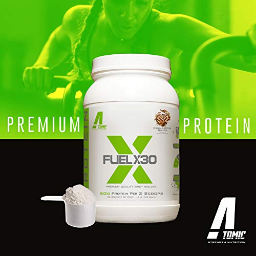 Fuel X30 Whey Isolate Protein by Atomic Strength Nutrition | Premium Quality Sugar FREE Fat FREE Gluten FREE and Lactose FREE - Chocolate Brownie - 2 Pound