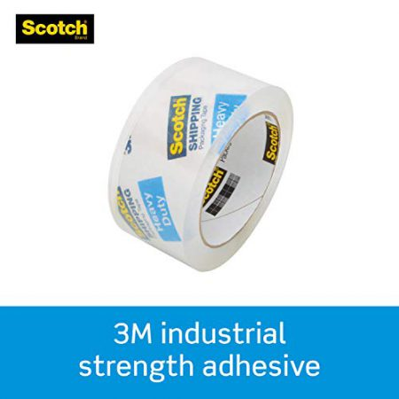"""Scotch Heavy Duty Packaging Tape, 1.88"""" x 54.6 yd, Designed for Packing, Shipping and Mailing, Guaranteed to Stay Sealed, 3"""" Core, Clear, 1 Roll -3850"""