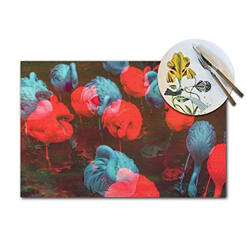 QNOQ Colored Flamingos Pattern Placemats,Non-Slip Dining Table Placemats,Heat-Resistant Placemats, Stain Resistant Washable PVC Kitchen Table Mats