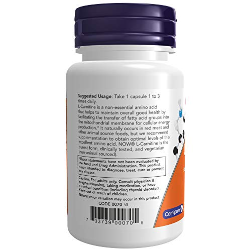 NOW Supplements, L-Carnitine 500mg, Purest Form, Amino Acid, Fitness Support*, 30 Veg Capsules