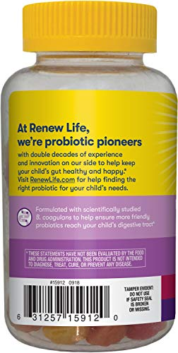 Renew Life Kids Probiotic - Ultimate Flora Kids Probiotic Gummies Probiotic Supplement- Dairy & Soy Free - 3 Billion CFU - Fruit Flavor, 60 Chewable Gummies