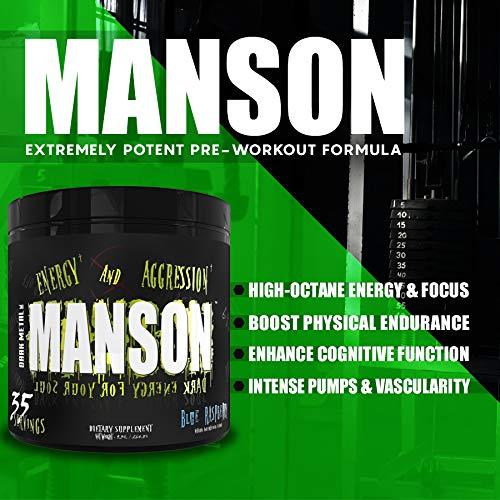 Dark Metal Inc. Manson High Stim Pre Workout Powder, Energy Focus Strength, Loaded with Beta Alanine L-Carnitine Caffeine Infinergy, 35 Srvgs, Cereal Killer