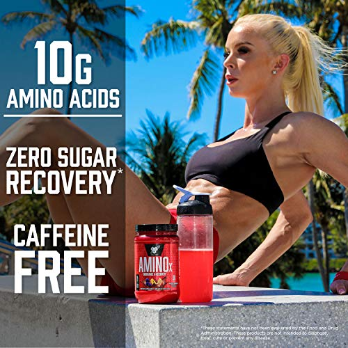 BSN Amino X Muscle Recovery & Endurance Powder with BCAAs, 10 Grams of Amino Acids, Keto Friendly, Caffeine Free, Flavor: Blue Raspberry, 30 Servings (Packaging May Vary)