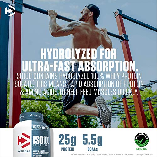 Dymatize ISO 100 Whey Protein Powder with 25g of Hydrolyzed, Fudge Brownie 1.6 Pound 25.6 Ounce