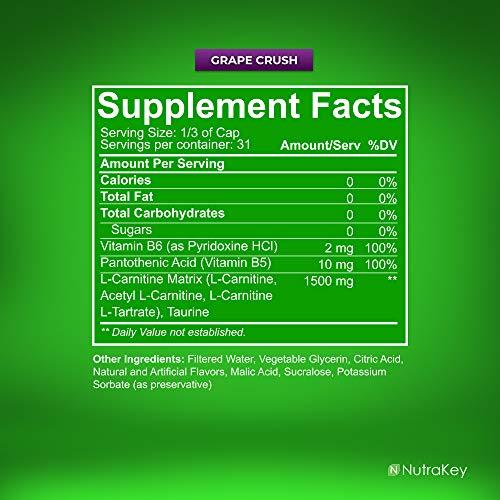 NutraKey L-Carnitine 1500mg Stimulant-Free Liquid Fat Burner, No Sugar, Gluten Free, Turn Fat Into Fuel, (Grape Crush) 31 Servings