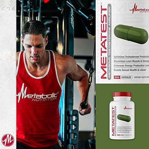 Metabolic Nutrition, Metatest - Testosterone Booster for Men, Supplement for libido, Energy, Endurance, Stamina & Vitality - 240 Counts