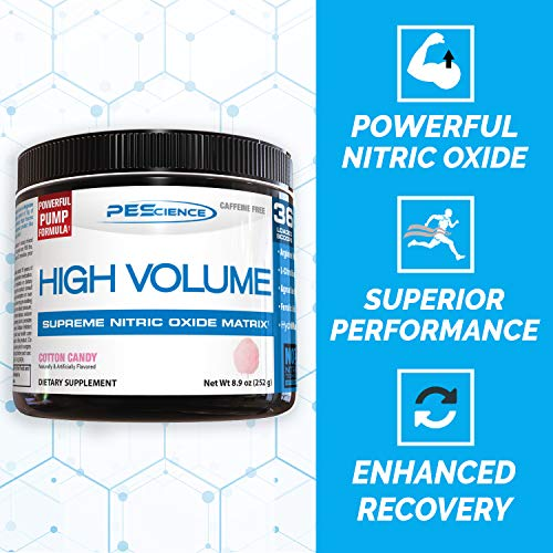 PEScience High Volume Nitric Oxide Booster Pre Workout Powder with L Arginine Nitrate, Blue Frost (Blueberry), 36 Scoops, Caffeine Free
