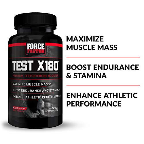 Test X180 Testosterone Booster Supplement for Men with Fenugreek Seed, Tribulus, Cordyceps, and Mens Vitamins to Build Lean Muscle and Enhance Male Athletic Performance, Force Factor, 60 Capsules