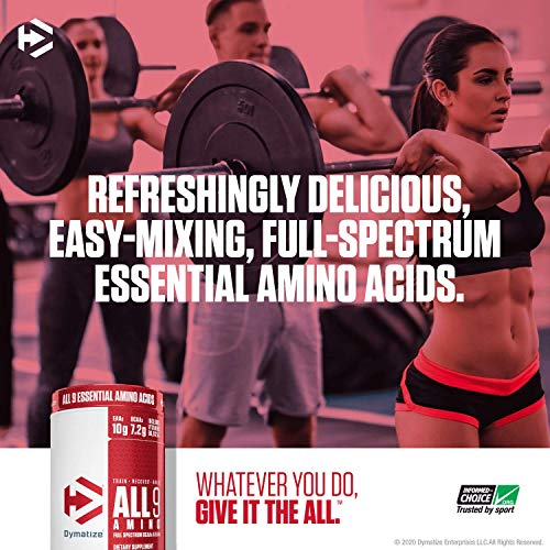 Dymatize All9 Amino, 7.2g of BCAAs, 10g of Full Spectrum Essential Amino Acids Per Serving for Recovery and Optimal Muscle Protein Synthesis, Fruit Fusion Rush, 30 Servings