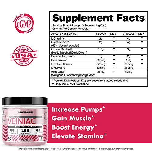 Veiniac Pump Supplement by Anabolic Warfare - Stimulant Free pre-Workout with L-Citrulline, Betaine Anhydrous, Added AstraGin® Nitric Oxide Booster & Vascularity Supplement Fruit Punch 30 Servings