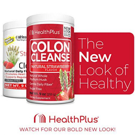 Health Plus Colon Cleanse - Natural Daily Fiber - No Artifical Flavors, Natural Sweetener, Gluten Free, Detox, Heart Healthy, Strawberry Flavor (9 Ounces, 36 Servings)
