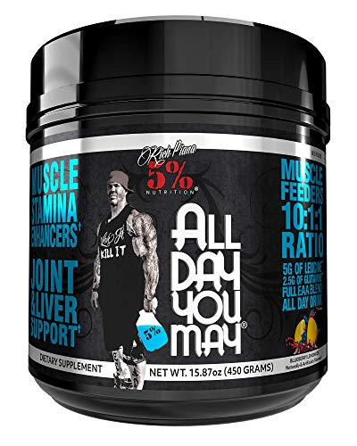 Rich Piana 5% Nutrition All Day You May 10:1:1 BCAA Powder, 9g of Amino Acids | Elite Muscle Recovery, Hydration, Lactic Acid Buffer, Joint Support | Sugar-Free, 15.87 oz 30 Srvgs (Blueberry Lemonade)