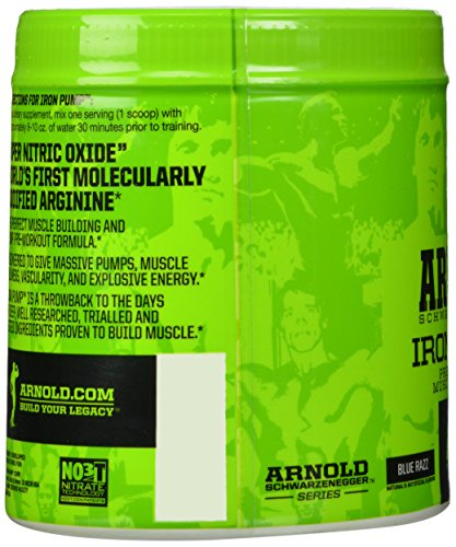 Arnold Schwarzenegger Series Iron Pump Pre-Workout Supplement, Blue Razz, 6.35 Oz