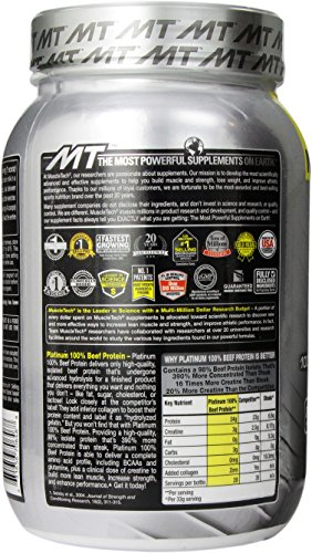 MuscleTech Platinum 100% Beef Protein, Ultra-Pure Hydrolyzed Beef Isolate, Double Dutch Chocolate, 2.01 lbs (912g)