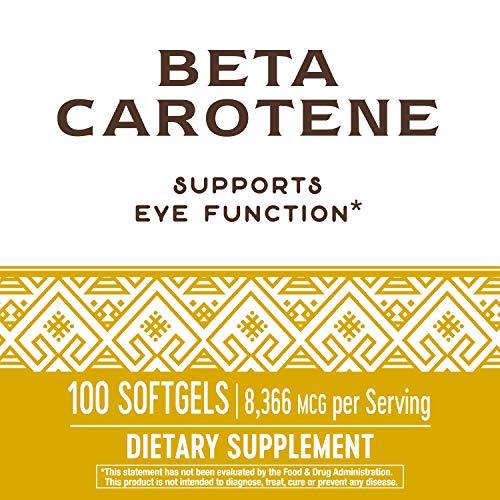 Nature's Way Natural Beta Carotene 25,000 IU per serving, 100 Softgels, Natural