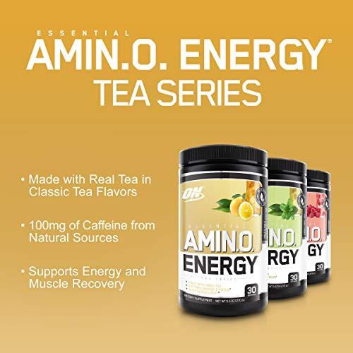 Optimum Nutrition Amino Energy - Pre Workout with Green Tea, BCAA, Amino Acids, Keto Friendly, Green Coffee Extract, Energy Powder - Half & Half Lemonade Iced Tea, 30 Servings