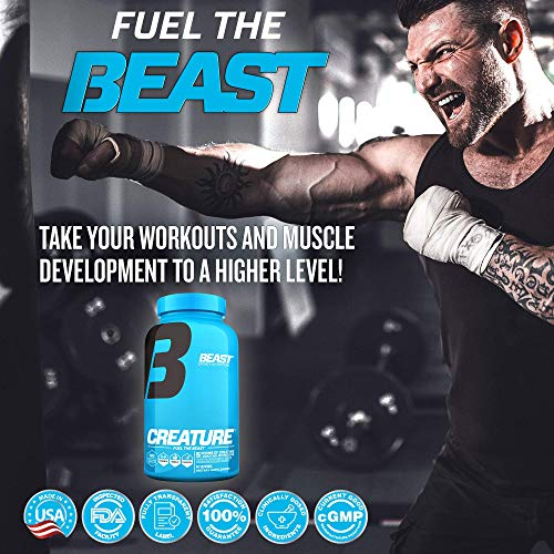 Beast Sports Nutrition - Creature Creatine Complex - Fuel Muscle Growth - Optimize Muscle Strength - Enhance Endurance - Boost Recovery - 5 Forms of Creatine Monohydrate - 60 Servings - 180 Capsules