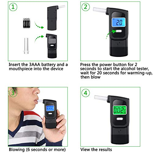 Majujululu Portable Digital Alcohol Tester with 5 Mouthpieces for Personal Use