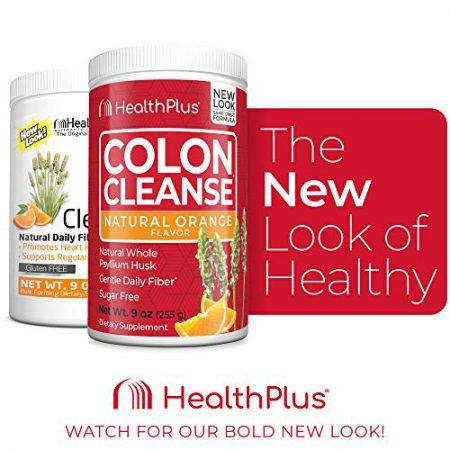 Health Plus Colon Cleanse - Natural Daily Fiber - No Artifical Flavors, Natural Sweetener, Gluten Free, Detox, Heart Healthy, Orange Flavor (9 Ounces, 36 Servings)