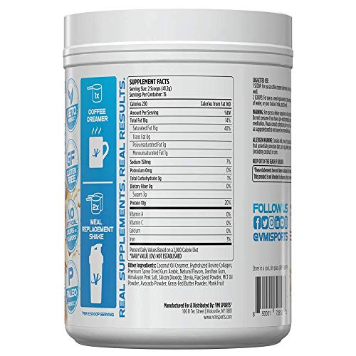 VMI Sports All-Natural Keto Shake with Hydrolyzed Collagen Dietary Supplement, 15 Servings, Vanilla Caramel