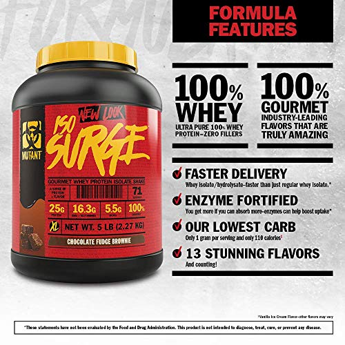 Mutant ISO Surge Whey Protein Isolate Powder Acts Fast to Help Recover, Build Muscle, Bulk and Strength, 1.6 lb - Pineapple Coconut