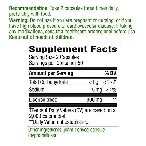 Nature's Way Licorice Root Capsules, 900 mg per serving, Premium Supplement, 100 Vegan Capsules