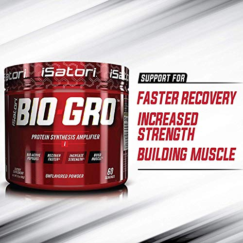 iSatori Bio-GRO Protein Synthesis Amplifier - Build Lean Muscle, Speed Recovery and Increase Strength - Bio-Active Proline-Rich Peptides Post Workout Muscle Builder - Unflavored (60 Servings)