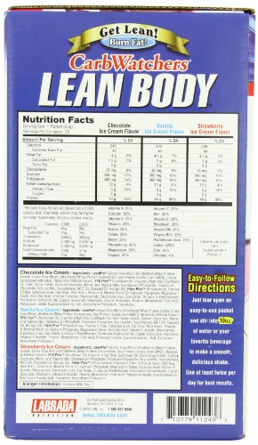 Labrada Nutrition Carb Watcher Lean Body Meal Replacement Powder, Neapolitan, 2.29-Ounce Packets (Pack of 20)