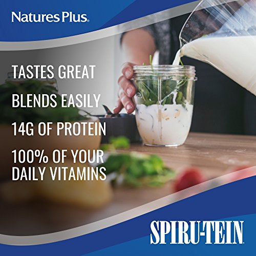 NaturesPlus SPIRU-TEIN Shake - Vanilla - 1.2 lbs, Spirulina Protein Powder - Plant Based Meal Replacement, Vitamins & Minerals For Energy - Vegetarian, Gluten-Free - 16 Servings