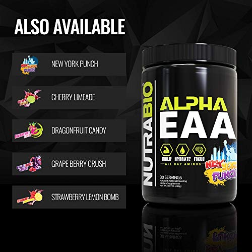 NutraBio Alpha EAA - All-Day Aminos - Recovery, Energy, Focus, and Hydration Supplement - Full Spectrum EAA BCAA Matrix, Electrolytes, Nootropics, Coconut Water - 30 Servings - Cherry Limeade
