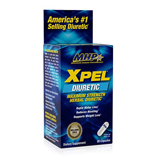 MHP Xpel Maximum Strength Diuretic Water Pills, for Water Retention Relief, Weight loss Support, with Vitamin B-6 Potassium Dandelion Root, 80 Capsules