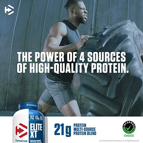 Dymatize Elite XT Protein Powder, Multi-Source Protein, 21g Protein, 4.5g BCAAs & 2.2g L-Leucine, With Slower Absorbing Casein, Fudge Brownie, 4 Pound