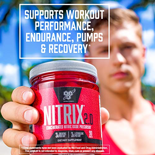 BSN NITRIX 2.0 - Nitric Oxide Precursors, 3g Creatine, 3g L Citrulline - Supports Workout Performance, Pumps, Muscle Recovery and Endurance - 90 Tablets