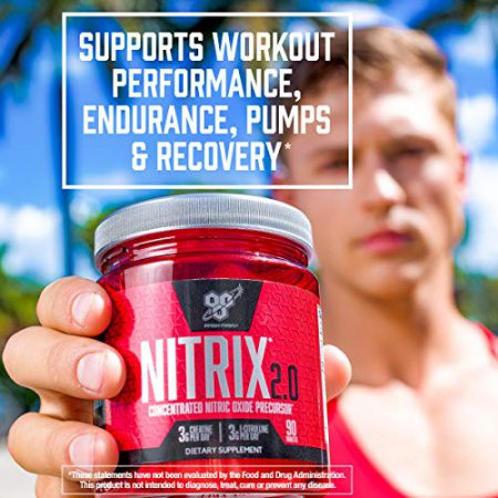 BSN NITRIX 2.0 - Nitric Oxide Precursors, 3g Creatine, 3g L Citrulline - Supports Workout Performance, Pumps, Muscle Recovery and Endurance - 180 Tablets