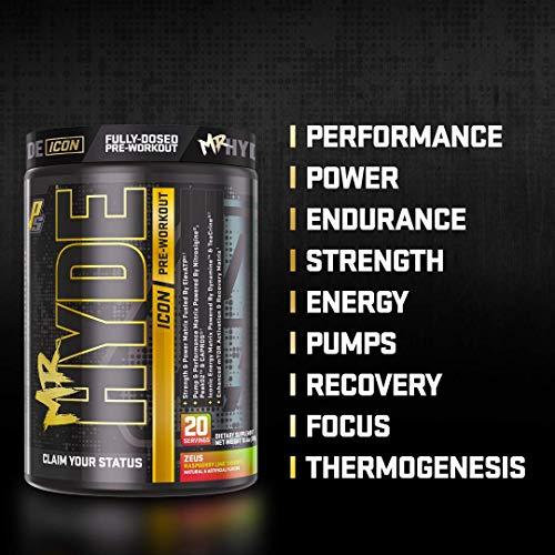 ProSupps® Mr. Hyde® Icon, Intense High Powered Energy, Focus & Pump, Premium Pre-Workout Powder, (20 Servings, Zeus Raspberry Lime Thunder)