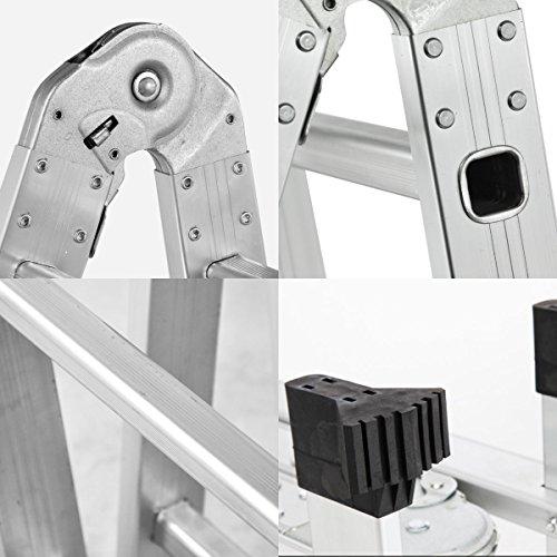 QuestCraft 15.5 Ft Multi Purpose Aluminum Folding Step Platform Scaffold Ladder 330LB 15.5'