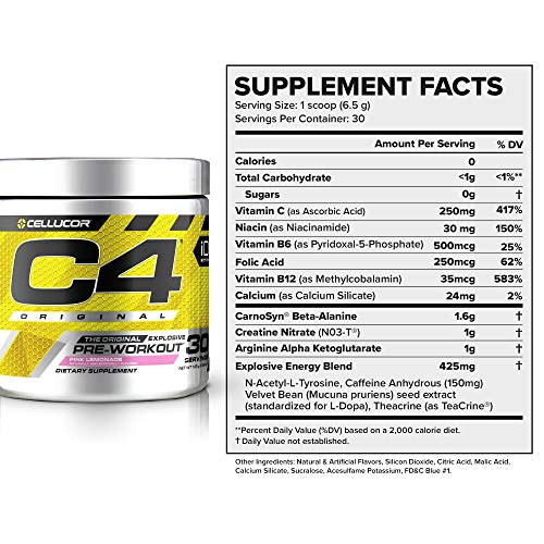 C4 Original Pre Workout Powder Pink Lemonade Sugar Free Preworkout Energy Supplement for Men & Women 150mg Caffeine + Beta Alanine + Creatine 30 Servings