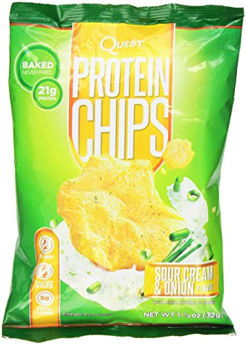 Quest Nutrition Protein Chips, Sour Cream & Onion, 21g Protein, 4g Net Carbs, 130 Cals, 1.2oz Bag, 1 Count, High Protein, Low Carb, Gluten Free, Soy Free, Potato Free