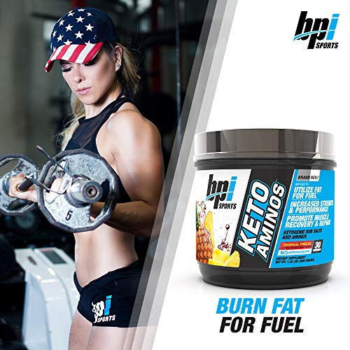 BPI Sports Keto Aminos - 7g Essential Amino Acid Powder - BHB Salts, MCTs - Burn Fat for Fuel, Muscle Growth, Recovery, Strength - Men & Women - Tropical Freeze - 30 Servings - 1.32 lb