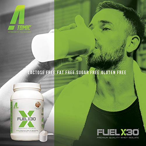 Atomic Strength Nutrition Fuel X30 Whey Isolate - Strawberry Dream - Premium Quality Muscle Mass Gainer - Sugar Free, Fat Free, Gluten Free, Lactose Free - 2 lbs