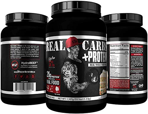 Rich Piana 5% Nutrition Real Carbs with Real Food Complex Carbohydrates, Long-Lasting Low Glycemic Energy for Pre-Workout/Post-Workout Recovery Meal, 64.6 oz, 60 Servings (Blueberry Cobbler)