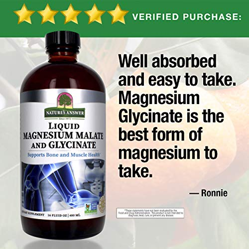 Nature's Answer Liquid Magnesium Malate and Glycinate | Supports Healthy Bone & Muscle Function | Promotes Healthy Cardiovascular Function | Gluten-Free & Vegan 16oz